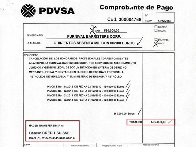 Orden de pago de Pdvsa enviando el dinero a un banco en Suiza