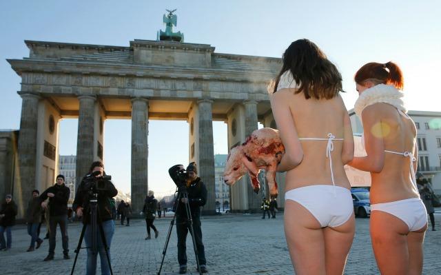 PETA (Personas por el Trato Ético de los Animales) activistas protestan frente a la Puerta de Brandenburgo antes de la apertura de la Berlin Fashion Week Otoño / Invierno 2016 en Berlín, Alemania, 19 de enero de 2016. REUTERS / Fabrizio Bensch
