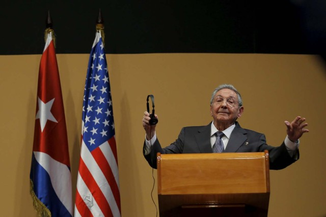 Cuban President Raul Castro gestures during a news conference with U.S. President Barack Obama (not pictured) as part of President Obama's three-day visit to Cuba in Havana