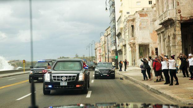 La caravana del presidente de EE UU, Barack Obama, en La Habana. (Casa Blanca)
