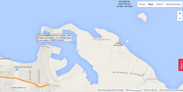 El mapa de seguimiento de buques de Marine Traffic sobre Puerto Cabello el sábado 2 de abril de 2016 a la 1:30pm