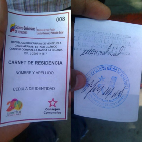 carnet de residencia del PSUV 2