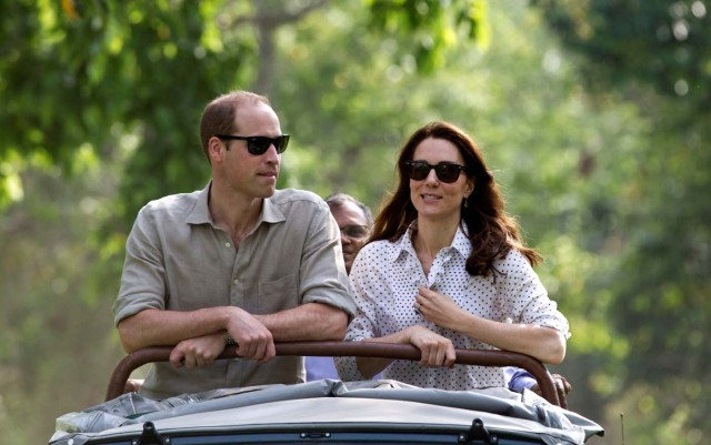 Britain's Prince William and his wife Catherine, the Duchess of Cambridge, are seen on a safari at Kaziranga National Park in the northeastern state of Assam, India, April 13, 2016. REUTERS/Heathcliff O'Malley/Pool