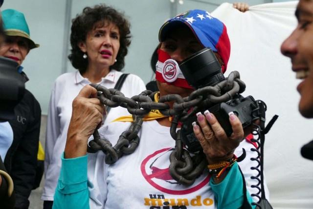 Periodistas protestan en Caracas  (Foto archivo)