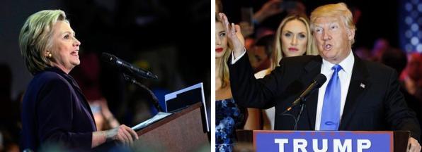 Combo de dos fotografías de archivo donde se ve a la precandidata a la presidencia de Estados Unidos por el partido Demócrata Hillary Clinton (i) en un acto de campaña el 11 de mayo de 2016 en Blackwood (NJ) y al precandidato Republicano Donald Trump (d) ofreciendo un discurso el 3 de mayo 2016 en Nueva York (NY). Según un sondeo divulgado hoy, martes 17 de mayo de 2016, por la cadena NBC News, la ventaja de Clilnton sobre Trump se estrechó de cinco a tres puntos la semana pasada: Clinton tiene el 48% de los votos frente al 45% de Trump gracias al apoyo del que goza entre los afroamericanos, los hispanos y las mujeres, de acuerdo con la encuesta. EFE/PETER FOLEY/ JUSTIN LANE
