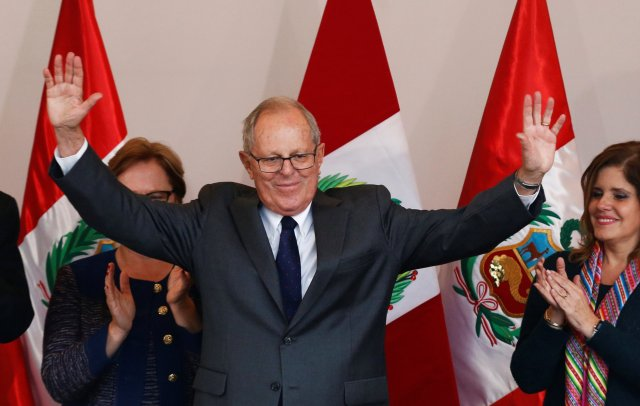 Peruvian presidential candidate Pedro Pablo Kuczynski, gives a speech to the press after Peru's electoral office ONPE said that he won more votes than Keiko Fujimori in the country's cliffhanger presidential election in his headquarters in Lima, Peru, June 9, 2016.  REUTERS/Mariana Bazo