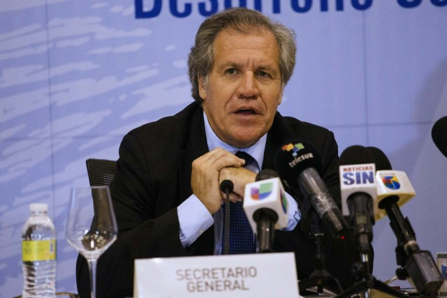 Secretary General of the Organization of American States (OAS), Luis Almagro, in a June 12, 2016 press conference ahead of the June 13-15 OAS 46th General Ordinary Assembly, in Santo Domingo, Dominican Republic. The OAS will open the General Assembly discussing the crisis in Venezuela and the Inter-American Human Rights Commission budget and political conflict. / AFP PHOTO / ERIKA SANTELICES