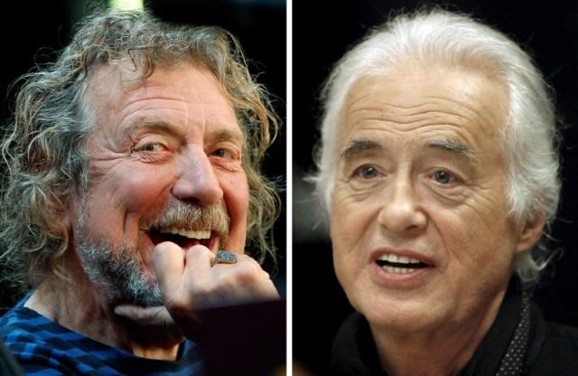 Combinación de fotos de Robert Plant (izq.), cantante de Led Zeppelin, y del guitarrista de la banda Jimmy Page, en Nueva York y Toronto respectivamente. Foto: REUTERS/Carlo Allegri, Hans Deryk/File photos