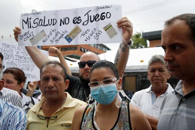 Protesta de venezolanos con trasplantes