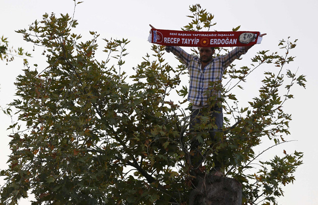 A man stands on a tree as he waits for Turkish President Tayyip Erdogan to appear for a speech outside his residence in Istanbul, Turkey, July 16, 2016. REUTERS/Murad Sezer
