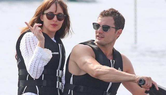 Dakota Johnson y Jamie Dornan, rodando en Niza