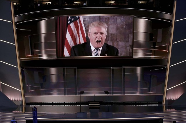 Republican U.S. presidential nominee Donald Trump speaks live via satellite from Trump Tower in New York City during the second session at the Republican National Convention in Cleveland, Ohio, U.S. July 19, 2016. REUTERS/Mike Segar TPX IMAGES OF THE DAY