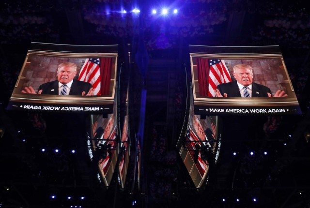 U.S. Republican presidential nominee Donald Trump speaks in a video message to the Republican National Convention in Cleveland, Ohio, U.S. July 19, 2016. REUTERS/Aaron P. Bernstein