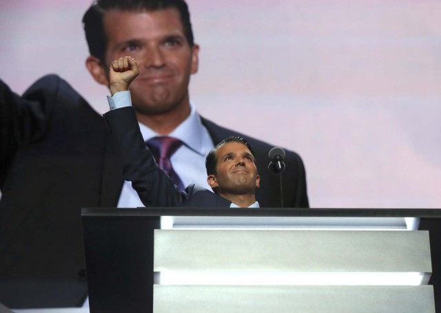 Donald Trump's son Donald Trump Jr. gestures during the second session at the Republican National Convention in Cleveland, Ohio, U.S. July 19, 2016. REUTERS/Mike Segar