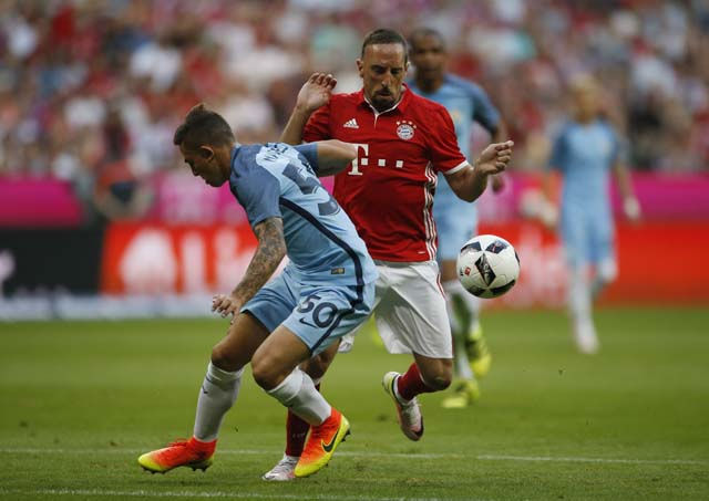 Football Soccer - Bayern Munich v Manchester City - Pre Season Friendly - Allianz Arena, Munich, Germany - 20/7/16 Manchester City's Pablo Maffeo Becerra in action with Bayern Munich's Franck Ribery Action Images via Reuters / Michaela Rehle Livepic