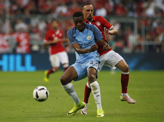 Football Soccer - Bayern Munich v Manchester City - Pre Season Friendly - Allianz Arena, Munich, Germany - 20/7/16 Manchester City's Oluwatosin Adarabioyo in action with Bayern Munich's Franck Ribery Action Images via Reuters / Michaela Rehle Livepic