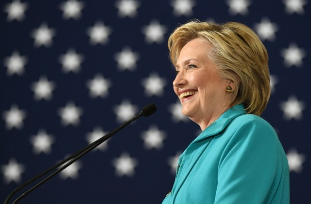 "(FILES) This file photo taken on August 25, 2016 shows Democratic presidential candidate Hillary Clinton speaking at a campaign event in Reno, Nevada. Hillary Clinton said August 26, 2016 she was certain no revelations from emails or foreign entities' ties to her husband's charitable foundation will derail her bid for the US presidency. ""I am sure, and I am sure because I have a very strong foundation of understanding about the foundation"" and the good work it has done, the Democratic candidate said in an interview with MSNBC. / AFP PHOTO / JOSH EDELSON"