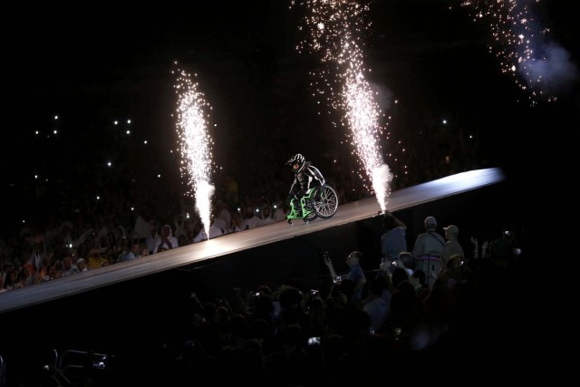 2016 Rio Paralympics - Opening ceremony - Maracana - Rio de Janeiro, Brazil - 07/09/2016. A performer in a wheelchair takes part in the opening ceremony. REUTERS/Ueslei Marcelino FOR EDITORIAL USE ONLY. NOT FOR SALE FOR MARKETING OR ADVERTISING CAMPAIGNS.