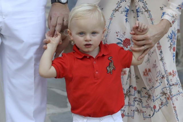 Prince Jacques, the heir apparent to the Monegasque throne gestures during the traditional Monaco's picnic in Monaco, September 10, 2015. REUTERS/Valery Hache/Pool