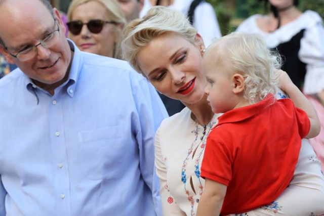 Prince Albert II and his wife Princess Charlene of Monaco arrive with Prince Jacques, the heir apparent to the Monegasque throne to take part in the traditional Monaco's picnic, September 10, 2016. REUTERS/Valery Hache/Pool
