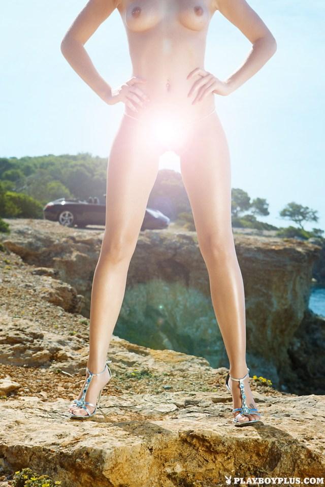 Convertible, diamonds, strappy heels, seaside