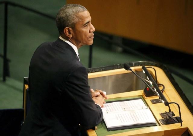 U.S. President Barack Obama addresses the United Nations General Assembly in the Manhattan borough of New York, U.S., September 20, 2016.  REUTERS/Carlo Allegri