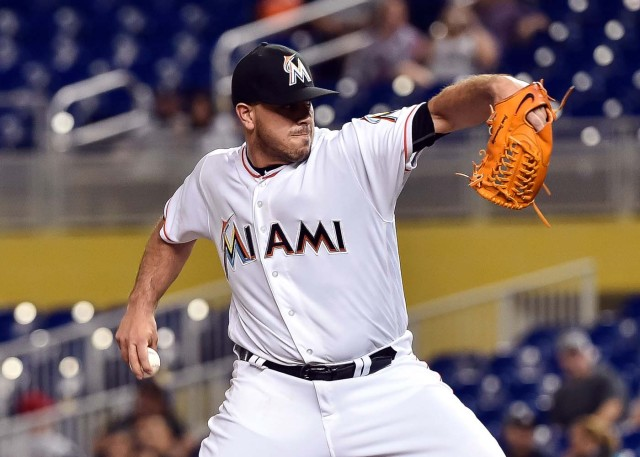 Sep 20, 2016; Miami, FL, USA; Miami Marlins starting pitcher Jose Fernandez (16) delivers a pitch during the first inning against the Washington Nationals at Marlins Park. Mandatory Credit: Steve Mitchell-USA TODAY Sports