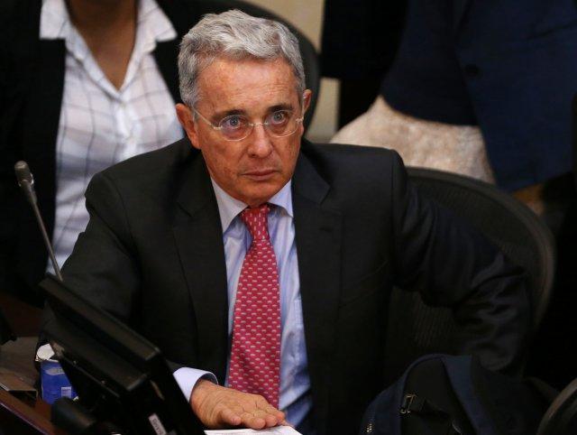 Senator Alvaro Uribe, Colombia's former president, attends a debate at the congress in Bogota