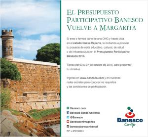 Banesco lleva por segundo año consecutivoPresupuesto Participativo a Margarita