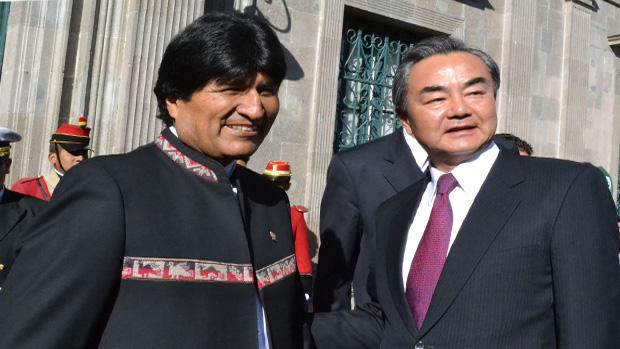 Evo recibió al canciller chino Wang Yi en el Palacio de Gobierno / Foto ABI