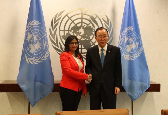 Foto: Canciller Delcy Rodríguez con Ban Ki-moon