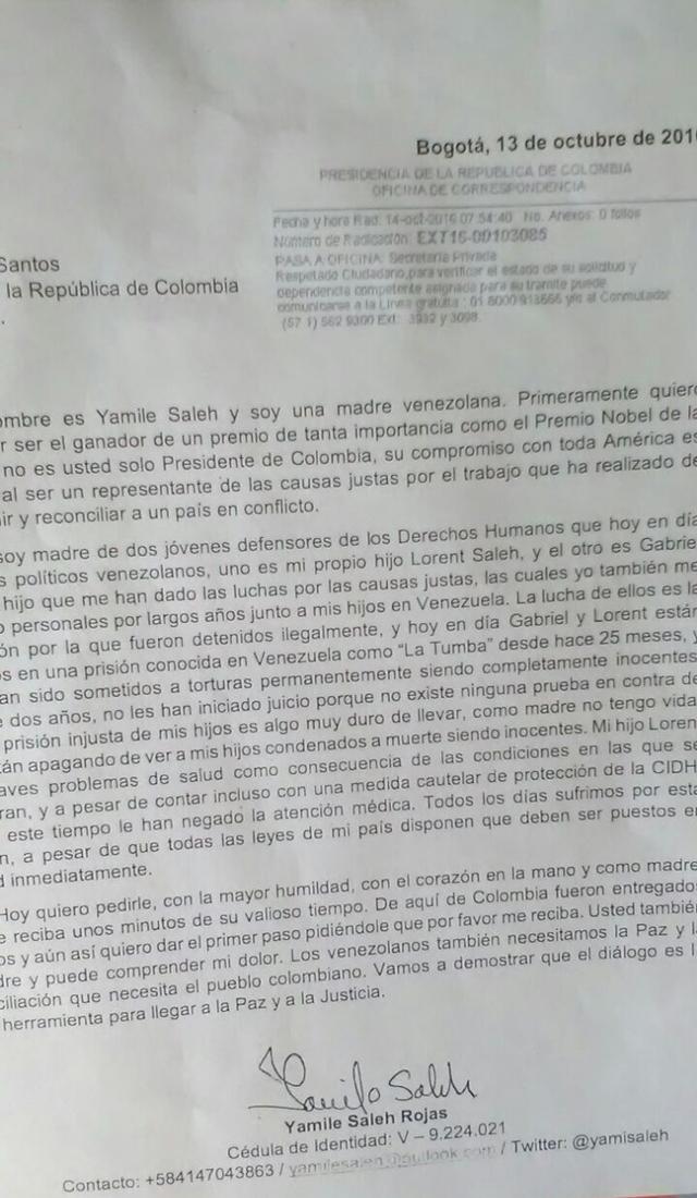 Carta de la madre de Lorent Saleh al presidente Santos