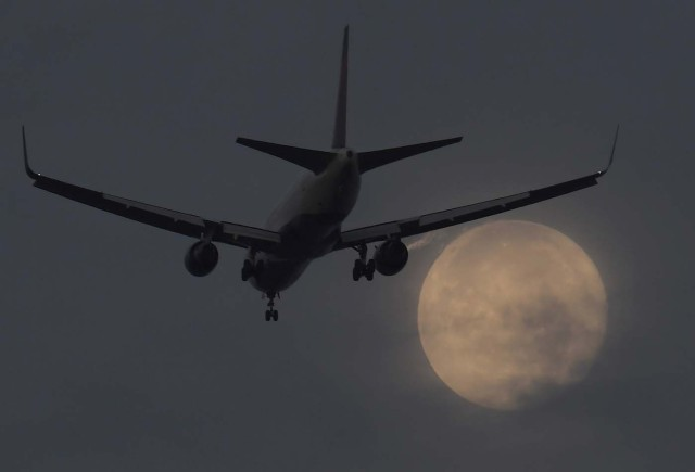 """A passenger aircraft makes it's landing approach to Heathrow airport in front of a """"super moon"""" at dawn in west London, Britain, October 17, 2016. REUTERS/Toby Melville TPX IMAGES OF THE DAY"""