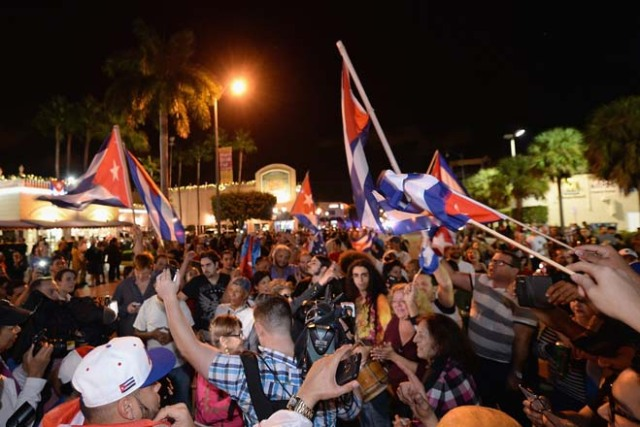MIAMI, FL - NOVEMBER 26: Miami residents celebrate the death of Fidel Castro on November 26, 2016 in Miami, Florida. Cuba's current President and younger brother of Fidel, Raul Castro, announced in a brief TV appearance that Fidel Castro had died at 22:29 hours on November 25 aged 90. Gustavo Caballero/Getty Images/AFP