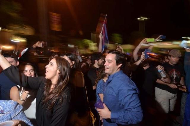 People celebrate the death of Cuban leader Fidel Castro, in Little Havana, Miami, Florida, U.S. November 26, 2016. REUTERS/Gaston De Cardenas