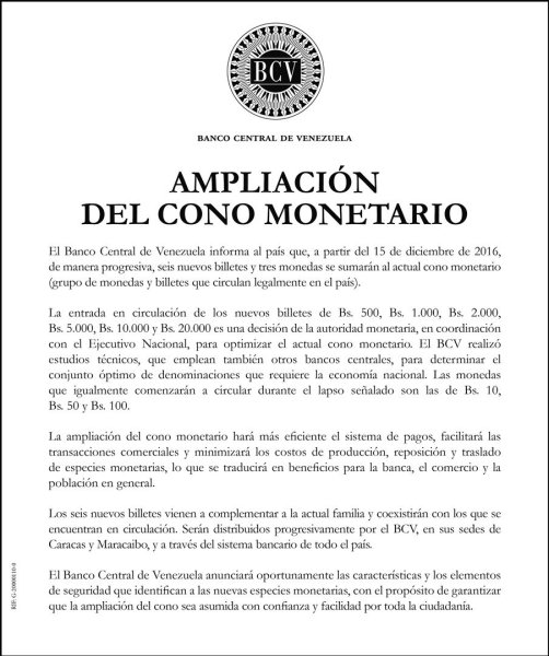 BCV Cono Monetario