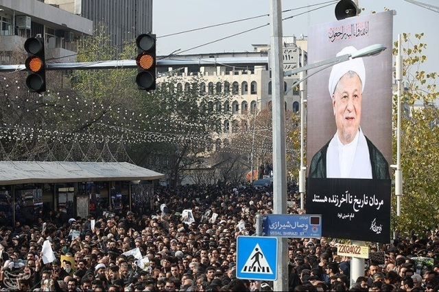 Mourners gather during the funeral of former president Ali Akbar Hashemi Rafsanjani in Tehran, Iran January 10, 2017. Tasnim News Agency/Handout via REUTERS ATTENTION EDITORS - THIS PICTURE WAS PROVIDED BY A THIRD PARTY. FOR EDITORIAL USE ONLY. NO RESALES. NO ARCHIVE.