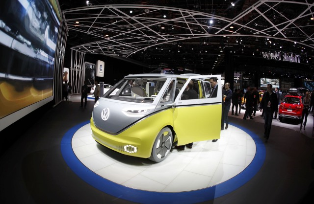 The Volkswagen I.D. Buzz electric concept vehicle is displayed during the North American International Auto Show in Detroit