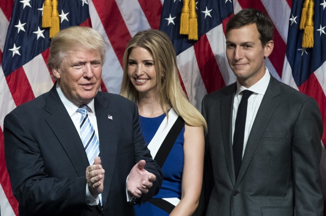 (FILES) This file photo taken on July 16, 2016 shows (from L) Republican presidential candidate Donald Trump, his daughter Ivanka Trump and her husband Jared Kushner standing on stage at the end of an event at the Hilton Midtown Hotel in New York City. Donald Trump on January 9, 2017 named son-in-law Jared Kushner as senior White House advisor, rewarding the man widely credited as the brains behind his election but courting serious legal and ethical concerns. The baby-faced real estate developer and magazine publisher who turns 36 on January 10, will be the youngest top member of the administration, working closely with chief of staff Reince Priebus and chief strategist Steve Bannon. / AFP PHOTO / GETTY IMAGES NORTH AMERICA / Drew Angerer