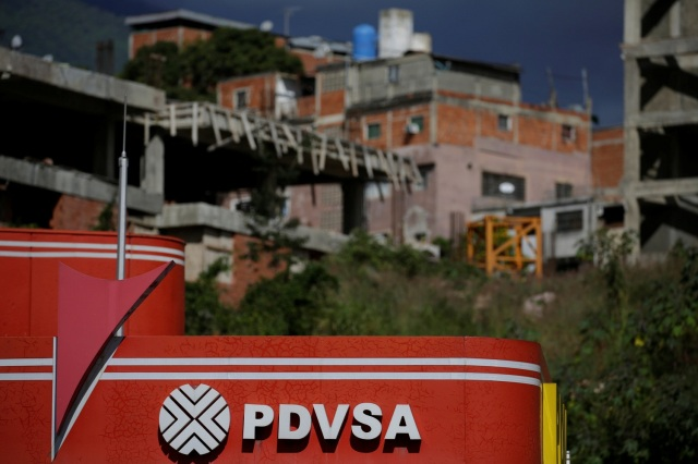 The logo of the Venezuelan state oil company PDVSA is seen at a gas station in Caracas, Venezuela January 11, 2017. Picture taken January 11, 2017. REUTERS/Marco Bello