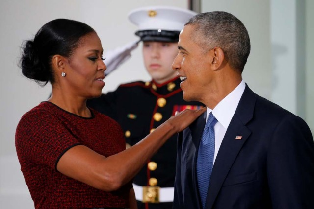 The Obamas prepare to greet the Trumps for tea before the inauguration at the White House in Washington