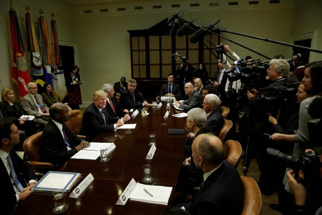 U.S. President Donald Trump meet with Pharma industry representatives at the White House in Washington, U.S., January 31, 2017. REUTERS/Yuri Gripas