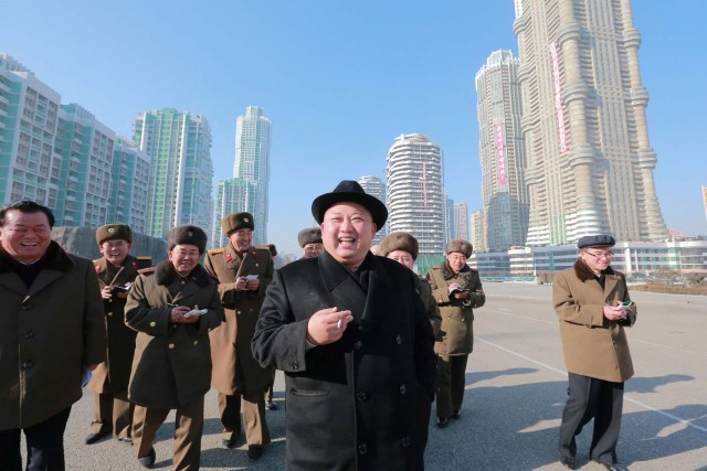 North Korean leader Kim Jong Un inspects the construction site of Ryomyong Street, in this undated photo released by North Korea's Korean Central News Agency (KCNA) on January 26, 2017. KCNA via REUTERS ATTENTION EDITORS - THIS PICTURE WAS PROVIDED BY A THIRD PARTY. REUTERS IS UNABLE TO INDEPENDENTLY VERIFY THIS IMAGE. FOR EDITORIAL USE ONLY. NO THIRD PARTY SALES. SOUTH KOREA OUT.
