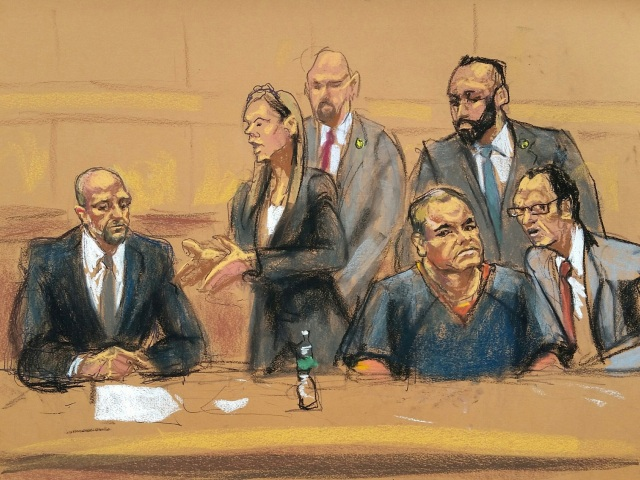 "Defense attorneys Michael Schneider (L to R), Michelle Gelernt, and Joaquin ""El Chapo"" Guzman are shown in this courtroom sketch in the Brooklyn borough of New York City, New York, U.S., February 3, 2017. REUTERS/Jane Rosenberg EDITORIAL USE ONLY. NO RESALES. NO ARCHIVE"