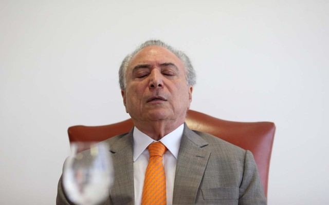 Brazil's President Michel Temer, reacts during an interview with Reuters at his office in Brasilia, Brazil, January 16, 2017. REUTERS/Adriano Machado