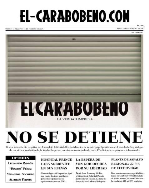 ultima portada semanario El Carabobeño
