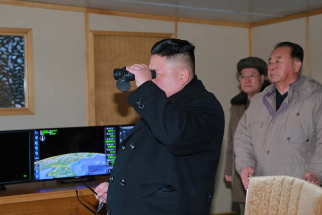 North Korean leader Kim Jong Un guides the test-fire of Pukguksong-2 on the spot, in this undated photo released by North Korea's Korean Central News Agency (KCNA) in Pyongyang February 13, 2017. KCNA/Handout via Reuters ATTENTION EDITORS - THIS PICTURE WAS PROVIDED BY A THIRD PARTY. REUTERS IS UNABLE TO INDEPENDENTLY VERIFY THE AUTHENTICITY, CONTENT, LOCATION OR DATE OF THIS IMAGE. FOR EDITORIAL USE ONLY. NO THIRD PARTY SALES. SOUTH KOREA OUT.  THIS PICTURE IS DISTRIBUTED EXACTLY AS RECEIVED BY REUTERS, AS A SERVICE TO CLIENTS.
