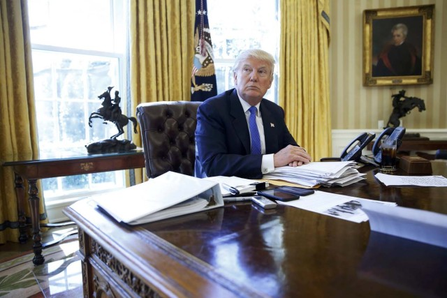 U.S. President Donald Trump is interviewed by Reuters in the Oval Office at the White House in Washington, U.S., February 23, 2017. REUTERS/Jonathan Ernst - TPX IMAGES OF THE DAY