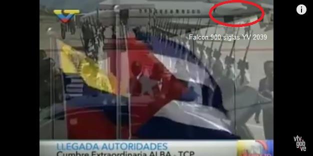 En toma de VTV el arribo de Raúl Castro en un Falcon 900 siglas YV 2039
