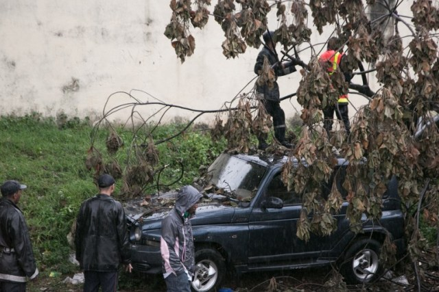 Malagasy firefighters work to remove a fallen tree from a car caused by tropical cyclone Enawo in Antananarivo, Madagascar, on March 8, 2017. At least four people have been killed by tropical cyclone Enawo in Madagascar, the prime minister said on March 8, 2017, as the storm tracked towards the capital Antananarivo threatening severe flooding. / AFP PHOTO / RIJASOLO